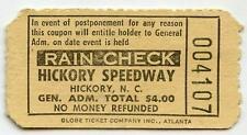 Vintage 1950s HICKORY MOTOR SPEEDWAY Ticket Stub NC Race Short Track Racing