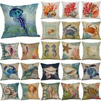 """18"""" Ocean Beach Sea Cotton Linen Pillow Case Throw Cushion Cover Home Bed Decor"""