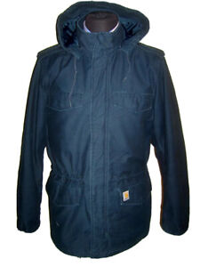 CARHARTT dark blue canvas quilted hooded parka coat L