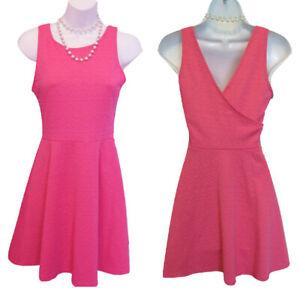 Pink Skater Dress JUNIORS Size XS Sleeveless Knit Stretch V Back Fit & Flare