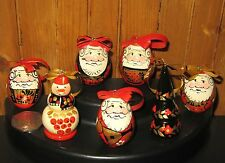 Genuine Russian set 7 KHOKHLOMA Christmas Tree EGG Decorations Red Gold SANTA