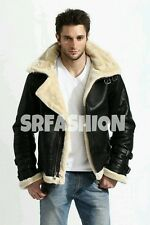 Men's Stylish B3 Flight Bomber Fur Shearling Removable Hood Cow Leather Jacket