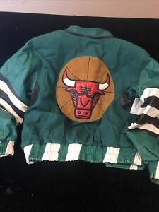 vintage 1980's chicago bulls leather & wool Snap Button jacket boys size 7 Rare