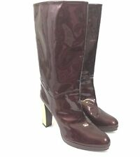 Stuart Weitzman Womens Size 9.5 Burgundy Patent Leather Mid-Calf Platform Boots