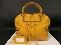 Authentic BALENCIAGA Classic Hand bag Yellow Leather r1439