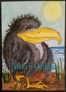 Aceo Black Crow Bird Beach Original Watercolour Painting Nikki C