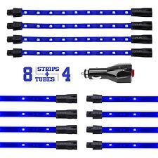 BLUE 12pc Premium Exterior Interior LED Accent Neon Light Kit All Included