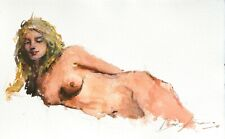 Painting Watercolor Original Portrait Study Nude Woman Body Impressionist 11x7 i