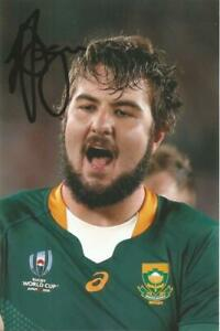 SOUTH AFRICA RUGBY: LOOD DE JAGER SIGNED 6x4 WORLD CUP ACTION PHOTO+COA *PROOF*