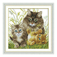 Stamped & Counted Cross Stitch Embroidery Kit Cat Family DIY 14CT Aida Cloth