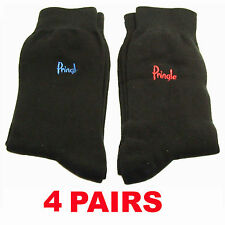 Pringle Trouser Socks 4 Pairs Fits Size 7,8,9,10 & 11. All Black New Mens 4 Pair