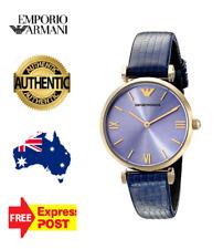 New In Box Emporio Armani AR1875 Ladies Designer Blue Leather Quartz Women Watch