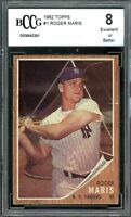 1962 Topps #1 Roger Maris Card BGS BCCG 8 Excellent+
