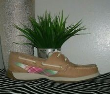 Sperry Top Sider Intrepid Women's Linen Pink&Tan Leather Boat Shoes Size 8 M new