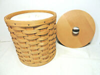 LONGABERGER Medium Round Canister Basket with Sealed Protector and Wood Lid EUC