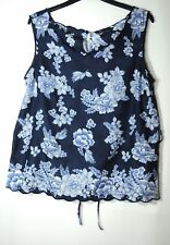 NAVY BLUE WHITE FLORAL LADIES CASUAL PARTY TOP BLOUSE SIZE 8 DOROTHY PERKINS