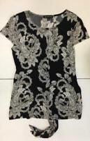 inc short sleeve black floral top (medium)