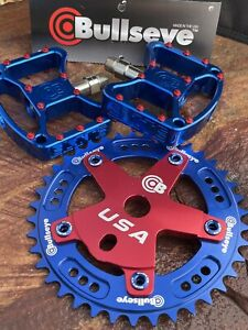 Bullseye BMX Blue Red  Combo Chainring 39t And Elite Pedals Skyway TA