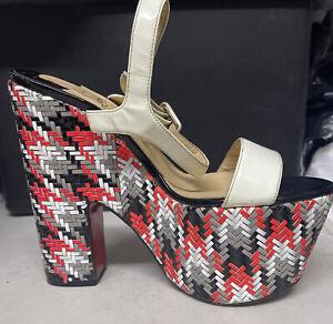 Christian Louboutin Bella Platform Sandal Size 39 White Strap - Left Shoe Only