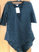 Green H&m Bodysuit With Criss Cross V  Neck Small