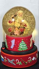Hallmark Coca-Cola Santa Musical Snow Globe Train Moves Around Base Christmas