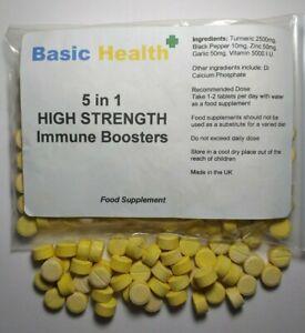 120 Colds Flu Immune Tablets 5 in 1 Turmeric Zinc Black Pepper Garlic Vitamin D