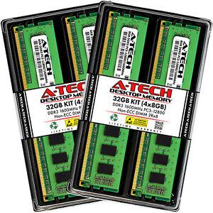 A-Tech 32GB 4x 8GB PC3-12800 Desktop DIMM 240-Pin DDR3 1600 Non-ECC Memory RAM