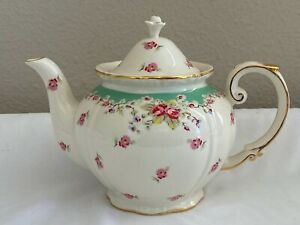 PEPPERTREE TEA WARE FINE PORCELAIN TEAPOT WHITE GREEN & PINK ROSES W/ GOLD TRIM