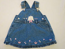 Just One Year Blue Denim Dress with White Kitty Infant Baby Girl 9 months