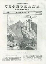 1838 ROCCA DEL FOLLETTO xilografia Cosmorama pittorico