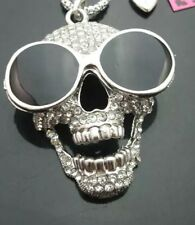 Betsey Johnson Skull Necklace Silver Skull With Sunglasses Goth Biker Rare Cool