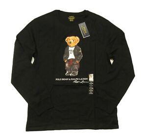 Polo Ralph Lauren Boys Black Moto Polo Bear Graphic Long Sleeve T-Shirt