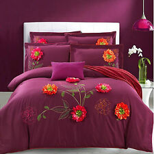 Quilt Cover Set Cotton Embroidered Quilt Cover  Sheet 2 Pillow Cases Queen NEW