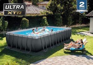 New Intex Swimming pool 24ft x 12ft x 52in Ultra XTR Frame Rectaangular Pool Set