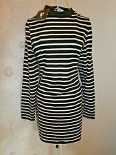 Women's black white stripe long sleeve t-shirt dress size 14 Very BNWT