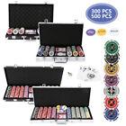 Pokerkoffer Pokerset Jetons 5x Würfel 300/500 Chips Laserchips Pokerchips Poker <br/> 2xKartenspiel 5xWürfel  Abschließbar Alu-Gehäuse