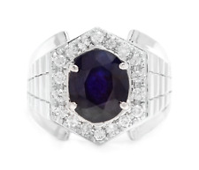 5.60Ct Natural Diamond & Sapphire 18K Solid White Gold Men's Ring