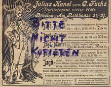 BRESLAU, Werbung 1903, Julius Henel Leder-Joppen Jacke Hose Jagd-Bekleidung