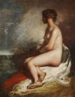 Fine art Oil painting sexy young women after bathing seated - before storm