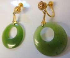 Antique Chinese 14k GOLD Natural Imperial GRADE A Jade Earrings