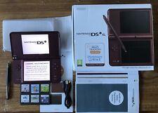 Nintendo DSi XL Borgoña Consola SISTEMA PORTÁTIL paquete +6 Juegos Y Cargador