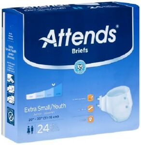 """Attends Briefs - Youth/X-Small Heavy Diapers  20"""" - 30"""" (Case of 96) BRBX10"""