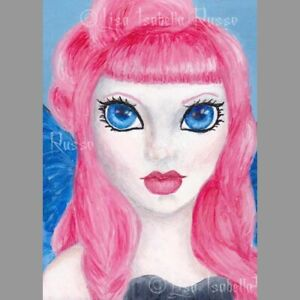 Angel Fantasy ART Blue Big Eye Lowbrow Fairy Lolita Gothic Print Lisabella Russo