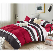 Bedding Comforter Set Bed In A Bag 5 Pcs Luxury Polyester Queen Size,Striped Red