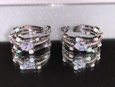NEW Melinda Maria Lola Silver Hoops Blue Opal Earrings