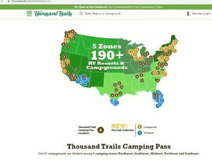 Thousand Trails Single Zone Camping Pass One Year Membership Value of $615