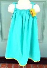 OshKosh Genuine Girl's Toddler Dress Summer Green & Yellow Textured Size 4T EUC