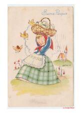 1949 Galbiati Pasqua cartolina con bambina cesto di uova nascita pulcini