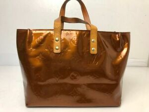 Auth LOUIS VUITTON Vernis Lead PM Hand Bag Brown Patent Leather