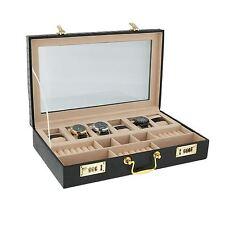 Negro Reloj Croco Impreso 6 Gemelos y caja de presentación de Anillo caso por aevitas